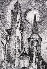 Klosterkirche im Mondlicht